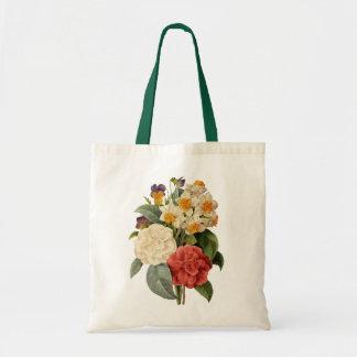 Buquê do casamento vintage, flores de florescência sacola tote budget
