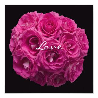 Buquê do rosa do rosa na renovação preta do voto convite quadrado 13.35 x 13.35cm