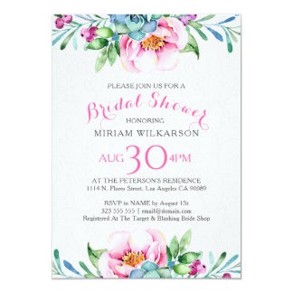 Buquê floral colorido das aguarelas convite 12.7 x 17.78cm