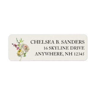 Buquê floral de rosa branco de etiquetas de etiqueta endereço de retorno