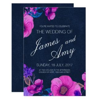 Buquê floral - roxo cor-de-rosa - convite do
