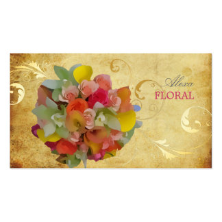 Buquê nupcial de PixDezines, floristas/vintage Cartão De Visita