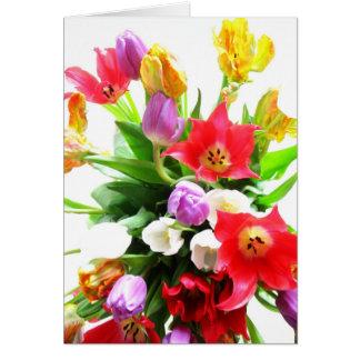 Buquê romântico das tulipas cartão comemorativo
