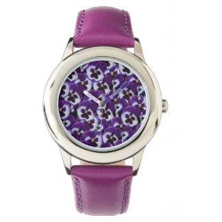 Buquê roxo do amor perfeito, relógio de couro roxo