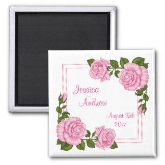 Buquês de canto cor-de-rosa bonito que Wedding Ímã Quadrado