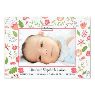 Buquês florais cor-de-rosa - anúncio do nascimento
