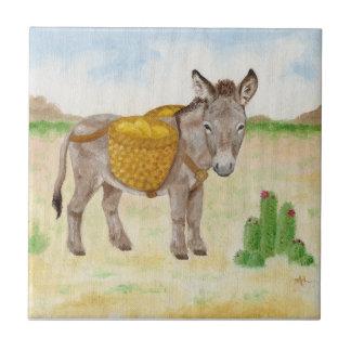 Burro com azulejo da cesta