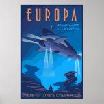 Busca para a vida no Europa da lua de Jupiter Pôsteres