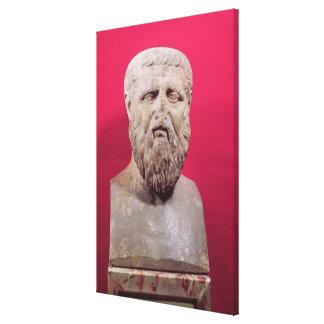 Busto da cópia de Plato do século IV de um origina Impressão De Canvas Esticada