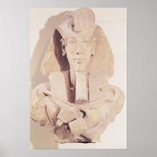 Busto de Amenophis IV do templo de Amun Pôster