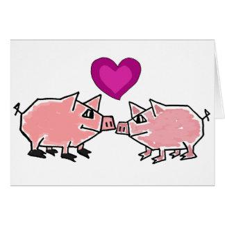 BW Piggies cor-de-rosa que pensa de você carda Cartão Comemorativo