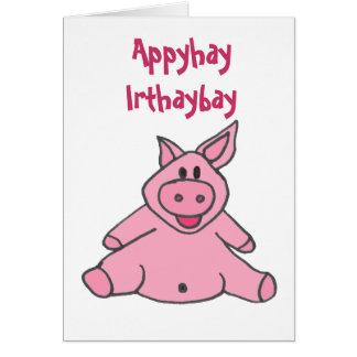 C.A. cartão de aniversário leitão engraçado