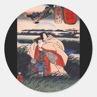C de pintura japonês 1800 s adesivo redondo