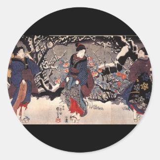 C. de pintura japonês 1800's adesivos em formato redondos