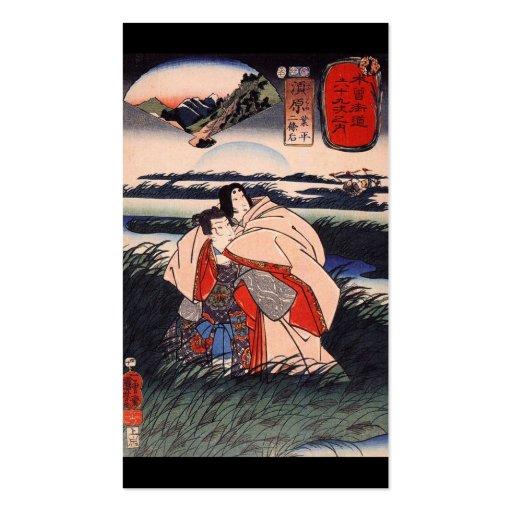 C. de pintura japonês 1800's modelo cartão de visita