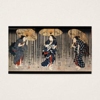 C. de pintura japonês 1800's cartão de visitas