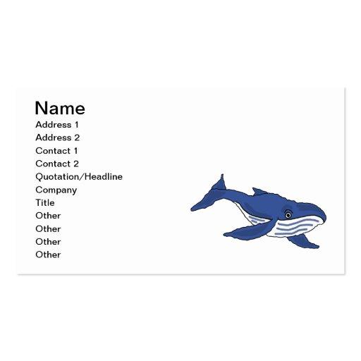 CA cartões de visitas impressionantes da baleia