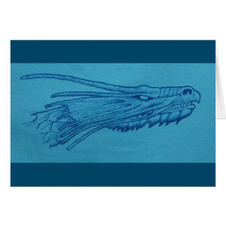 Cabeça azul do dragão cartão
