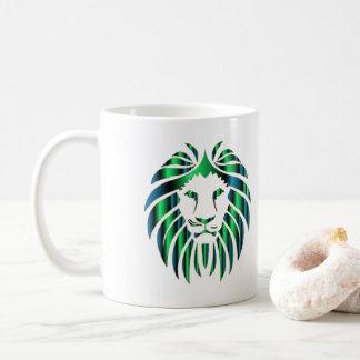 Cabeça colorida prismático do leão, caneca de café