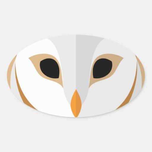 Cabeça da coruja dos desenhos animados adesivos em formato ovais