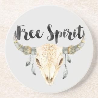 Cabeça de Bull do espírito livre com penas Porta Copos De Arenito