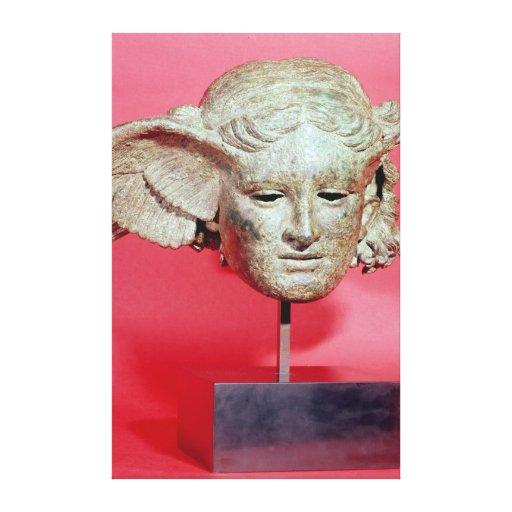Cabeça de Hypnos, cópia de um original Hellenistic Impressão De Canvas Esticadas