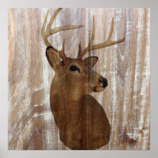 cabeça de madeira rústica dos cervos da grão do pa impressão
