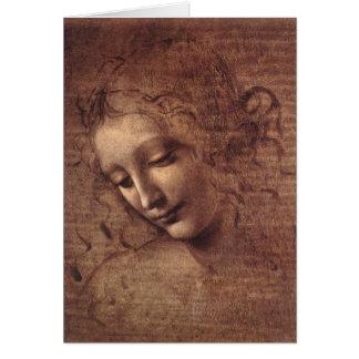 Cabeça de uma jovem mulher com cabelo Tousled Cartão