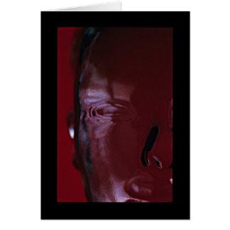 Cabeça de vidro vermelha cartão comemorativo