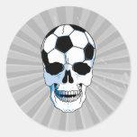 cabeça do crânio da bola de futebol adesivos redondos