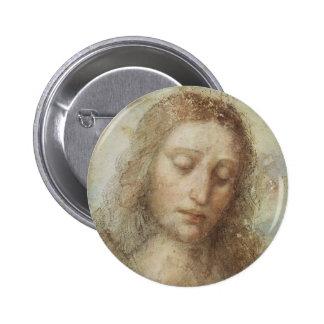 Cabeça do cristo pelo daVinci Bóton Redondo 5.08cm
