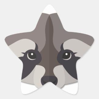Cabeça do guaxinim dos desenhos animados adesivo estrela