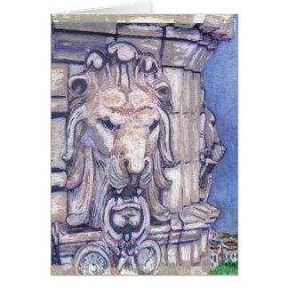 Cabeça do leão da construção de Maison Blanche Cartão Comemorativo