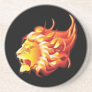 Cabeça do leão do fogo porta-copos de arenito