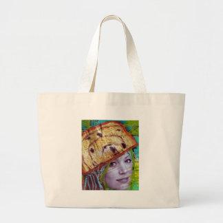 Cabeça do pão de passa, uma colagem bolsas para compras