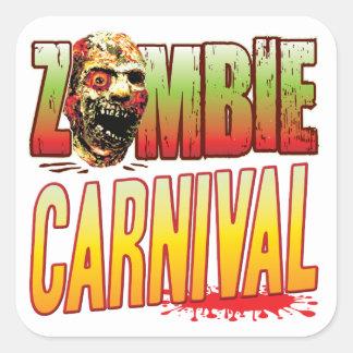 Cabeça do zombi do carnaval adesivos quadrados