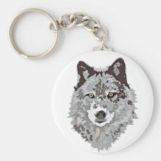 Cabeça estilizado do lobo chaveiro