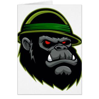 Cabeça militar do gorila cartão comemorativo