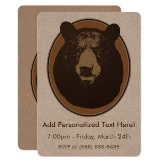 Cabeça montada do urso da taxidermia convite 12.7 x 17.78cm