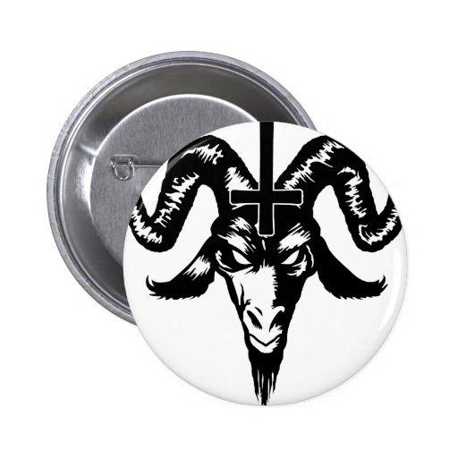 Cabeça satânica da cabra com cruz (preto) boton