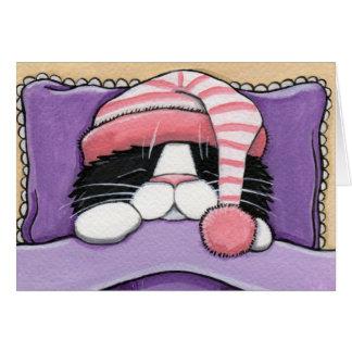 Cabeça sonolento - cartão do gato