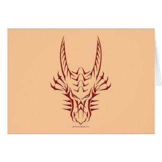 Cabeça vermelha tribal do dragão cartão comemorativo