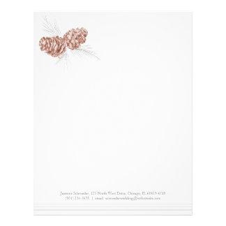 Cabeçalho cinzento do casamento do marrom da arte modelo de papel de carta