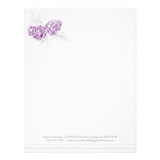Cabeçalho cinzento roxo do casamento da arte dos papel de carta