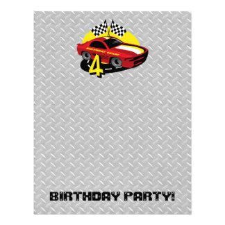Cabeçalho do aniversário do carro de corridas 4o modelo de papel de carta