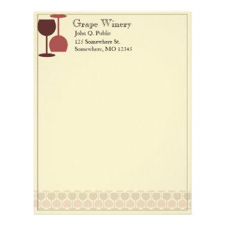 Cabeçalho do bar da adega/vinho papel de carta