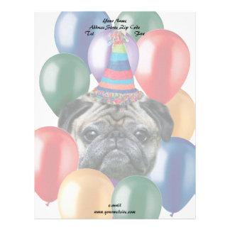 Cabeçalho do cão do pug do feliz aniversario papel de carta personalizados