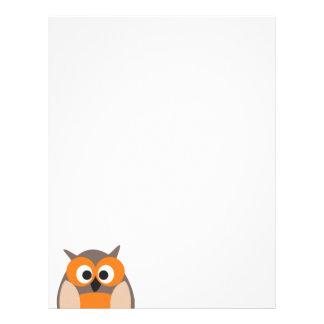 Cabeçalho engraçado da coruja dos desenhos animado papéis de carta personalizados