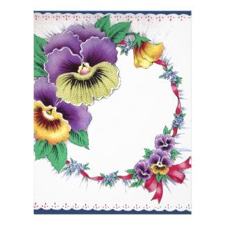 Cabeçalho floral do amor perfeito do vintage color papeis de carta personalizados