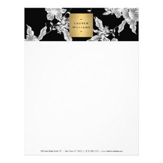 Cabeçalho floral preto elegante do teste padrão 3 papel timbrado